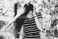 Waiting (phoebercat) Tags: summer blackandwhite selfportrait self hair asian quote longhair waiitng