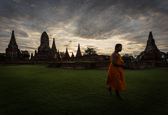 Calm Step (notjustnut) Tags: sky cloud thailand ancient ruins antique monk ayuthaya thaiculture ayudhaya thaiarchitecture