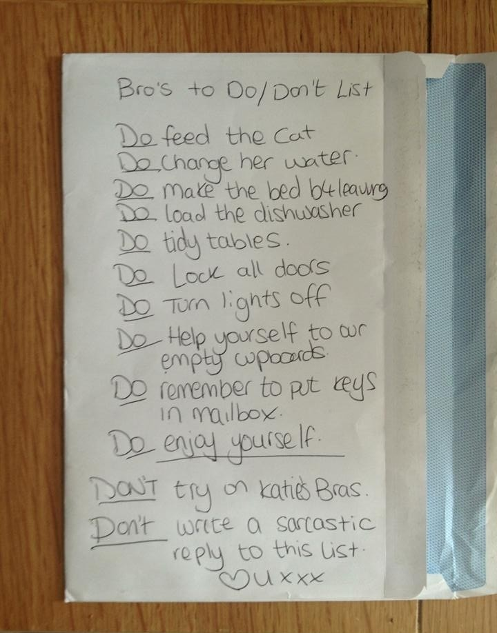 DO feed the cat. DO change her water. DON'T try on Katie's bras. DON'T write a sarcastic reply to this list.