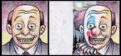 Funny Funny Clown project (Tom Bagley) Tags: canada calgary clown cartoon eerie creepy spooky fantasy alberta horror cornball ooky colouredpencils tombagley funnyclown nightclown faceflapproject