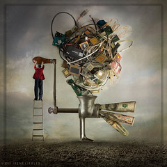 One Man's Trash Is Another Man's Treasure (irene liebler) Tags: sky money hat composite clouds photoshop john garbage junk surreal magritte ladder value assignments photoillustration redjacket microprocessors meatgrinder trashtotreasure liebler p52pro ireneliebler