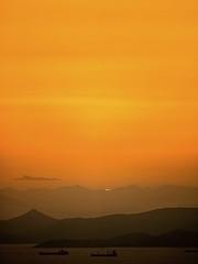 Sun's last rays (Giovanni C.) Tags: sea sun mamiya nature yellow clouds digital mediumformat 645 ship natural mf 6x45 mamiya645 peloponnese zd afd gcap 645afd bestofnature digitalback aigio diakofto 645af nohdr achaia mediumformatdigital afdiii digitalmediumformat   aigion  zdback digitalmf giovannic  vision:sunset=099 mmfc1659recovered mamiyadigita