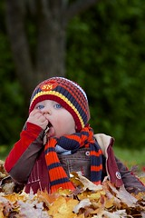 First Autumn (Kevin Boucher) Tags: autumn portrait baby fall leaves canon leaf toddler ranger mark iii flash 200 5d tasting hybrid 70 28l strobe quadra elinchrom nonis strobist 5d3 600exrt