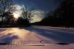 Snow and Ice (K.M. Smith Photography) Tags: winter sunset ohio sun snow ice nature canon river landscape ruralohio sidecutmetropark