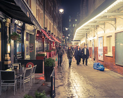 A Night At The Theatre (Sean Batten) Tags: street england people london lights restaurant alley nikon chairs unitedkingdom pavement streetphotography pedestrian shops d800 theatreland 2470 vision:outdoor=0553 vision:sky=0719 vision
