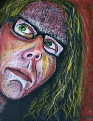 Tammy (Gila Mosaics n'stuff) Tags: portrait art female glasses artist prismacolor onblack portraitparty jkpp