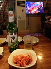 Kimchi and Beer.... and Korean TV Program... @Qiannian, Gubei, Shanghai (Phreddie) Tags: china food hot beer dinner restaurant shanghai tofu pot korean tang gubei doufu jjiae qiannian