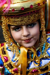 Girl dressed up for carnival in Malta (Hannah_Kirkland) Tags: travel carnival portrait people colour girl face festival children costume child dress culture streetphotography malta tradition