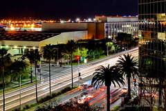 LA Street III (Visual Artist Frank Bonilla) Tags: street trees bus cars bulb night lights hotel la losangeles airport streetlight jet planes frankbonilla visualartistfrankbonilla