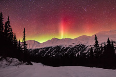 Blood Aurora (robertdownie) Tags: yellow canada sky red mountains night trail stars snow green ice bc star asteroid pine blood aurora rockies astro shooting british columbia rocky treees northern astroid