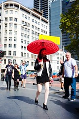 Red parasol (Rule17_) Tags: parasol umbrella sydney red woman white tights whitetights yellow qvb queenvictoriabuilding streetphotography