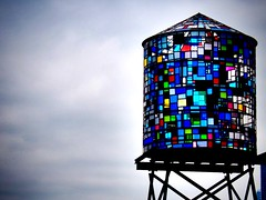 Stained Glass Water Tower (paleyphotos) Tags: flickrelite newyork nyc new york brooklyn art street public color water tower bqe stained glass colorful sculpture streetart streetphoto urban