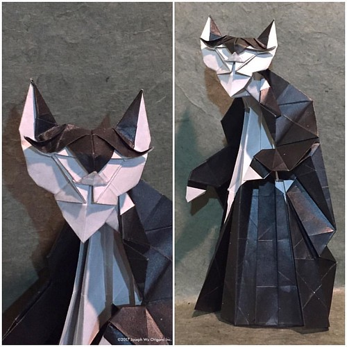 Study: Nekomancer. From an idea by @choplogik. I had the idea of redoing this design using the base for the Baron, but didn't have the right paper left to try it until I got home.
