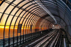 Sunset Station (Yoan Mitov) Tags: galaxynote4 samsung galaxy note sunset sofia bulgaria rail rails subway elevated covered mobile photography