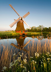 Dutch Delight (Danil) Tags: trees sunset flower holland reflection mill water netherlands windmill dutch grass landscape spring colorful daniel nederland historical gras kanaal groningen lente riet molen weiland landschap bloem windmolen zuidwolde krimstermolen vaart reflectie historisch fluitekruid oever bosma eemshavenweg