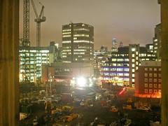 Maughan Library (Gary Kinsman) Tags: 2005 longexposure london skyline night construction cityscape view crane gherkin 30stmaryaxe tower42 cityoflondon slowshutterspeed chancerylane wc2 kingscollegelondon newstreetsquare kcl maughanlibrary internationalpresscentre
