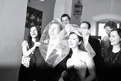 Flash expression (catarinae) Tags: wedding party woman man men guests germany deutschland groom bride women couple veil dress expression flash group young posing marriage gown bridal bridegroom