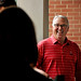 Chancellor Randy Woodson laughs as a new student's mother realizes that the nice man helping her family move her daughter into Lee Hall is the university's chancellor.