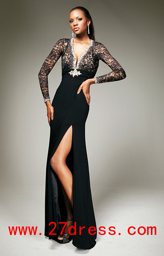 002540d92f3 2013 Long Sleeve Evening Dresses V Neck Bead Lace Slit Backless Vintage Black  Prom Dresses from