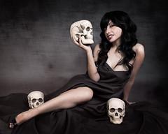 Mistress of the Dark (Studio Fuentes) Tags: woman holiday halloween girl dark skulls nikon gothic goth haunted pinup d800 alienbees 1635mm strobist paulcbuff