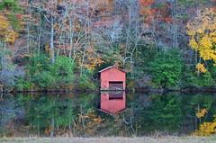 Autumn Reflections - 2013 (deanrr) Tags: autumn leaves reflections alabama desotostatepark boathouse fortpaynealabama littleredboathouse