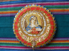 Mosaic Immaculate Heart of Mary Plaque and Rosary Holder (dumblady mosaics) Tags: china art broken lady plaque mexico religious gold colorful catholic fiesta heart roman handmade glassgems mary rustic mother style wallart virgin mexican plates dishes catholicism decor shards blessed dinnerware keyholder walldecor grout piqueassiette mediatrix immaculateheartofmary picassiette mosaicart brokenplates christinemorris dumblady dumbladymosaics