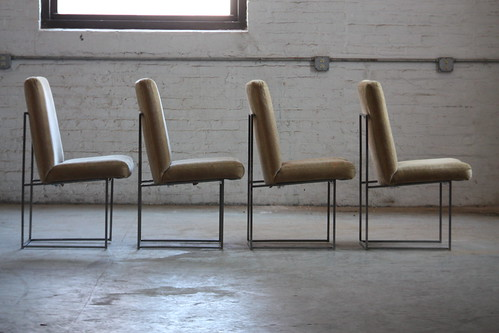 Design Classic Milo Baughman Vintage Upholstered Dining Chairs For