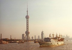 Shanghai Pudong skyline from Huangpu River Oriental Pearl TV Tower 1996 (Bruce in Beijing) Tags: china skyline river 1996 pudong huangpuriver orientalpearltvtower shamghai
