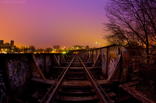 CSX Railroad Bridge x Boston University Bridge at Dawn, Cambridge MA