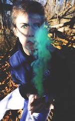 Tyler (gisela mcdaniel) Tags: boy portrait guy green eyes smoke blueeyes young blond blonde teenage 18mm coloredsmoke smokeball canonmark5dii giselamcdaniel