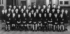 Abroath Group (theirhistory) Tags: uk school boy girl stairs children hall shoes uniform boots tie skirt class badge junior gb shorts form schoolphoto seated wellies blazer primary