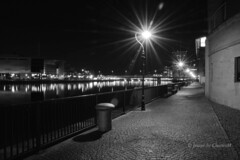 Clarendon Dock View of Belfast BW (CharlesM-2) Tags: ireland bw night reflections river belfast northernireland odyssey charlesm clarendondock shadowpm2