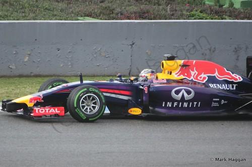 Sebastian Vettel in his Red Bull at Formula One Winter Testing 2014