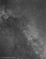 Milky Way Clouds on Acros (S Migol) Tags: blackandwhite 120 film monochrome analog mediumformat pentax nebula greyscale acros milkyway cygnus starfield pentax6x7 pentax67 calstar smigol stephenmigol smctakumar6x7200mmf4 copyright2014