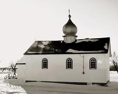Saints Peter and Paul Ukrainian Catholic Church (`. Susan .*).*) Tags: winter blackandwhite bw snow canada cold church nikon manitoba lensflare d300