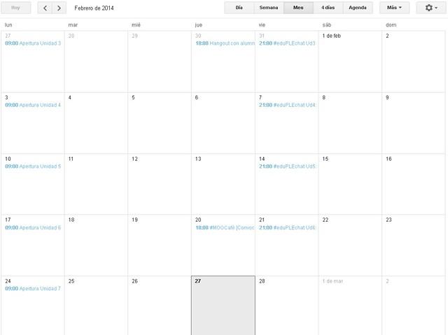 calendario MOOC PLE