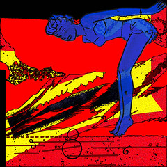Lift (AK Rockefeller) Tags: blue red woman 6 abstract color art feet colors girl yellow collage lady hair person athletic lift surrealism surreal 8 numbers collageart creativecommons barefoot math figure barefeet shorts swimsuit six eight primary hold primarycolors