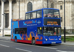 GOLDEN TOURS 154 - V154MEV - ST PAULS - SAT 8TH MARCH 2014 (Bexleybus) Tags: red london st golden open top pauls route alexander dennis tours 154 trident 17154 alx400 v154mev