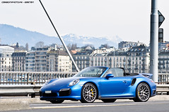 Turbo S Cab' (Gaetan | www.carbonphoto.fr) Tags: auto new blue car speed germany switzerland geneva geneve cab great fast convertible s automotive exotic turbo german coche porsche incredible luxury supercar 991 hypercar worldcars carbonphoto