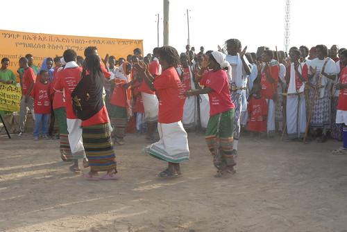 Local afar Women dances for the program of great run in semera town