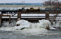 So cold the water over the dam froze (photomama777) Tags: ice water wisconsin dam beloit 2014
