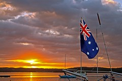 An Aussie Sunrise (Sterling67) Tags: lake sunrise gold boat flag australian 7d aussie stern