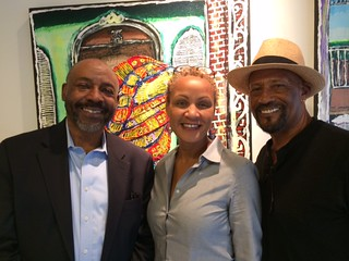 Kroma art gallery owner Jihad Rashid with gallery manager Julia Polonyi and artist Alan Laird at Alan's opening.