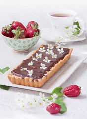 Chocolate tart (Oxygen) Tags: wood food white cold cooking pie dessert cuisine strawberry cookie tea lace decoration cream sugar delicious caramel single pastry treat cocoa tart calorie rectangle tarte baked birdcherry
