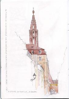 Rencontre USK Strasbourg - la flèche de la cathédrale