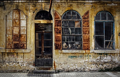 3+1 (dim.pagiantzas | photography) Tags: factory buildings abandonment laboratory manufacture windows doors old colors colorfull entrance traditional urban chimney wall