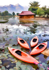 Mai Chau Restaurant view Impression (Neville Wootton Photography) Tags: boats canoes holidays impressions lakescapes maichau mangojouneys topazlabs vietnam