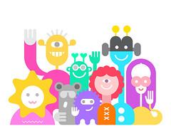 Cheerful Aliens (danjazzia) Tags: alien cheerful group friendly greeting smiling waving hands vector illustration cartoon character hello person colorful cute isolated fun mutant ufo fantasy bizarre monster laughing happy flat strange party whitebackground onwhite unreal