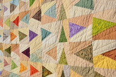 """Leave a Trail"" quilt ~ hand quilting (Sewfrench) Tags: leave festival modern spring triangle colorful quilt traditional trail bloggers scrap kona trailmarker handquilted 2013 leaveatrail"