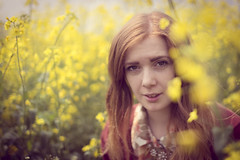 Katie (Mark_Jennings) Tags: pink portrait nature field yellow canon vintage outside outdoors dof bokeh depthoffield faded portraiture processing rapeseed vintageprocessing